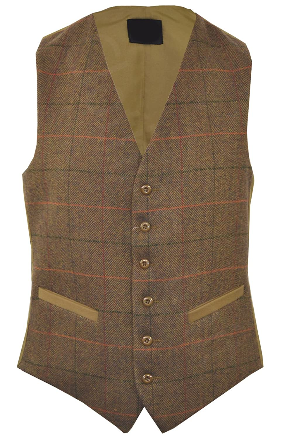 Clothing_unit Mens Classic Wool Blend Derby Tweed Check Waistcoat Herringbone Formal Vest S - 3XL