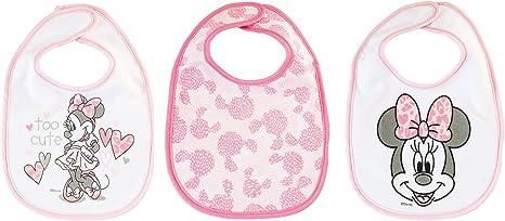 Lulabi Disney Minnie, juego de 3 baberos, algodón, 19 x 17 cm, 0 + meses, rosa: Amazon.es: Bebé