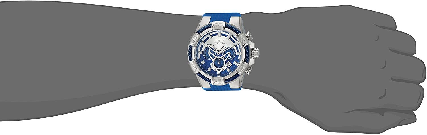 Invicta Men s Bolt Stainless Steel Quartz Watch with Silicone Strap, Blue, 32 Model 24696