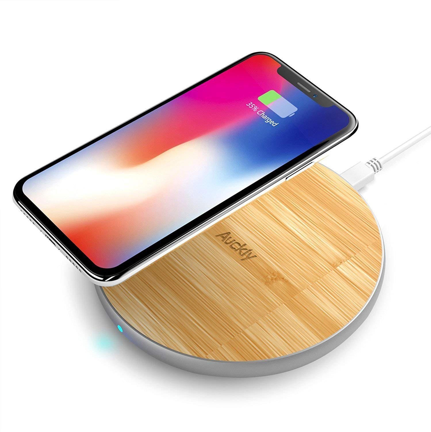 Auckly ZWEN-1 1 Fast Charger, 10W Bamboo Qi Wireless Charging Pad with Matte Aluminum Newest Model for iPhone 8/8 Plus/X and Samsung Galaxy Note8/Note5/S9/S9 S8 Plus/S7/S7edge/S6/S6Egde