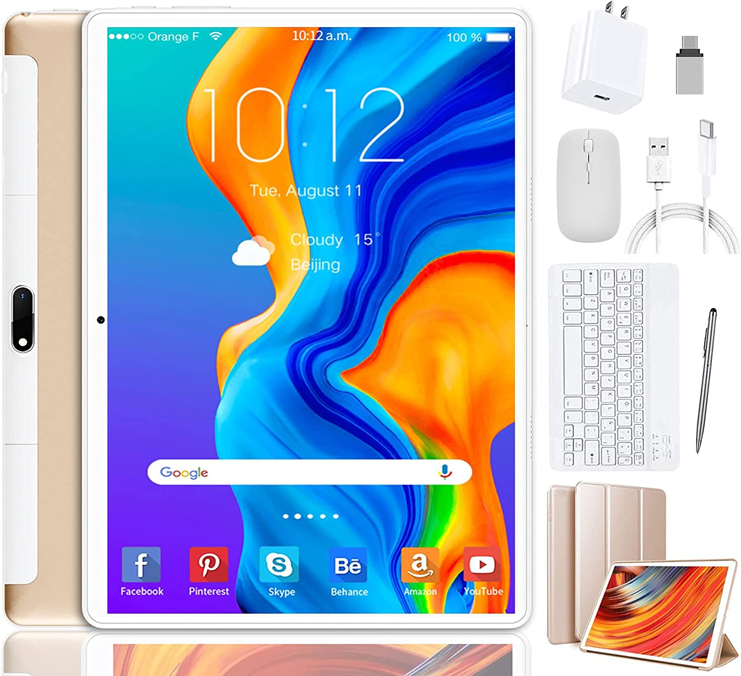 Tablet 10 inch, Android 10 Pie, Tablet with Keyboard 4GB RAM 64GB ROM, Quad Core Processor, IPS HD 10