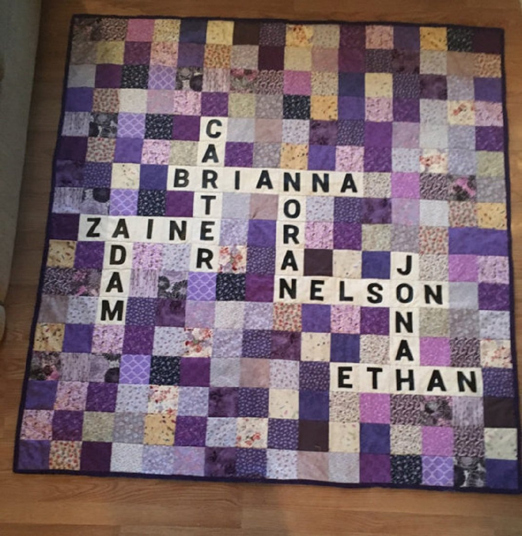 Image of Customized Scrabble quilt Home and Kitchen