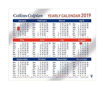 collins cds1 a4 2019 colplan yearly calendar