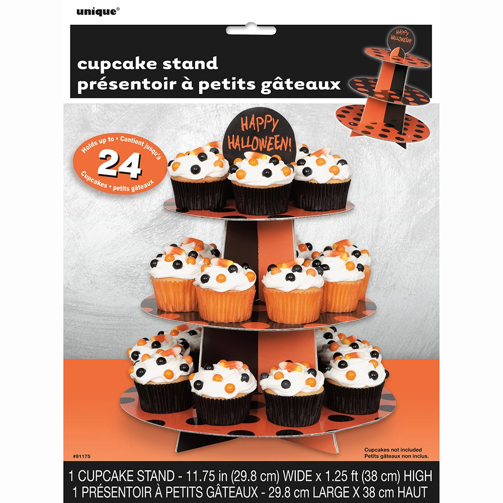 Orange & Black Polka Dot Halloween Cupcake Stand