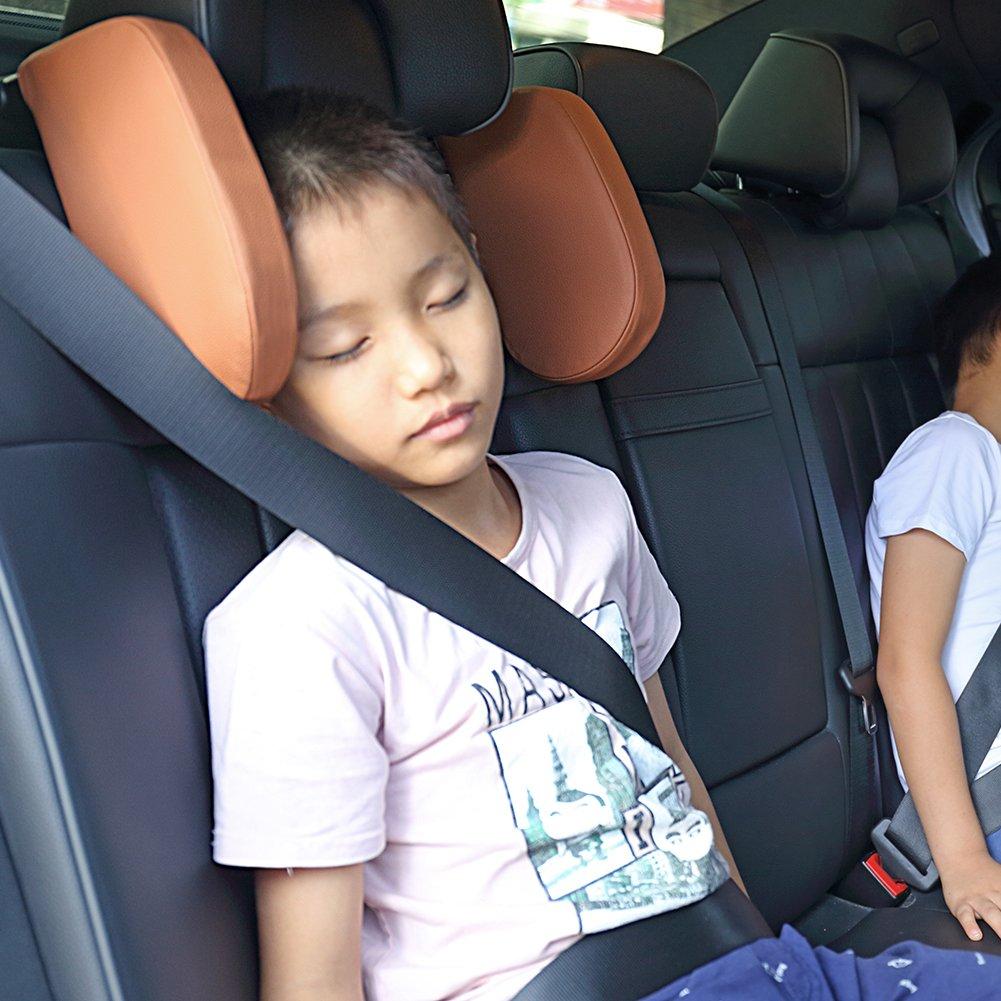 Soluci/ón de soporte de Nylon-El mejor cuello alto el/ástico para ni/ños y adultos Reposacabezas para el viaje en coche Soporte en ambos lados Reposacabezas del asiento del coche retr/áctil