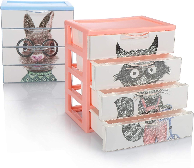 com-four® Caja de cajones 2X, Caja de plástico para Guardar Juguetes para niños, artesanías, bolígrafos: práctica Caja de clasificación [la selección varía] (02x Cajas 4 Compartimentos 18x13x20)