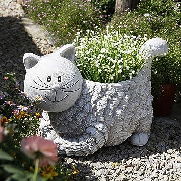 Figura Decorativa para jardín Maceta Animal Del Gato Impermeable óxido De Magnesio Estatua Del Jardín Para
