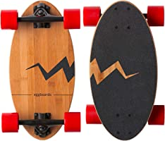 Eggboards Mini Longboard Cruiser Skateboard - The Original. Wide Small Bamboo Skateboards Ride Like Longboards. Complete...