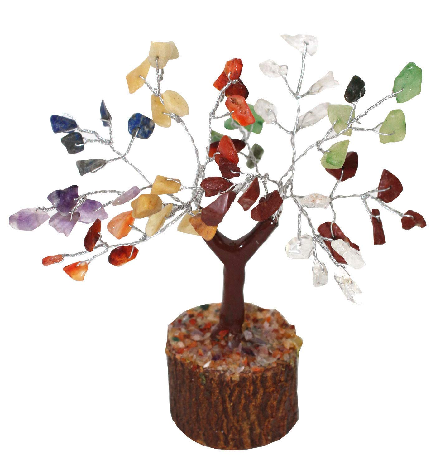 Creativegifts Natural Healing 60 Gemstone Crystal Bonsai Fortune Tree for Good Luck Wealth Prosperity Multi-Mix