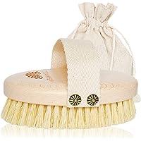 MyBamwell Szczotka do ciała z naturalnego włosia sizalowego, do masażu cellulitu, sucha szczotka do peelingu, masażu…