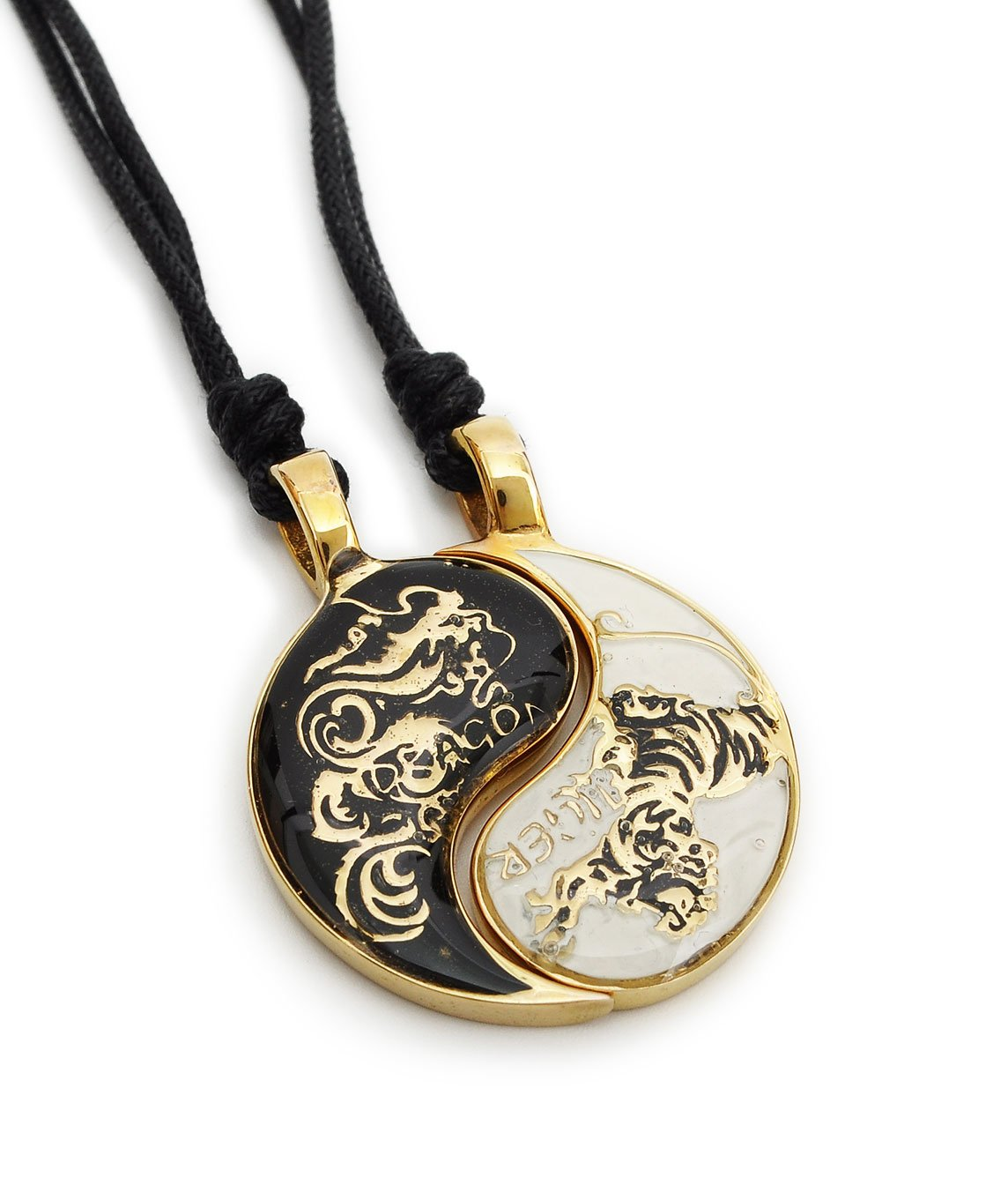 Vietguild Dragon Tiger Yin Yang Seperated (2 Necklaces) Handmade Brass Necklace Pendant Jewelry by Vietguild (Image #1)