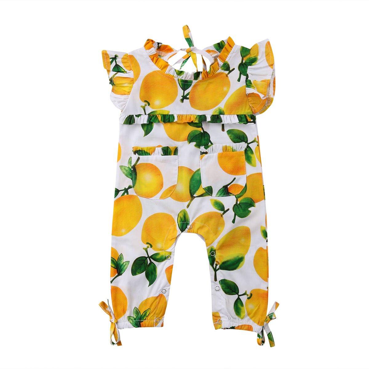 a27b643d8 Amazon.com  YAZAD Toddler Newborn Infant Baby Girls Lemon Floral ...