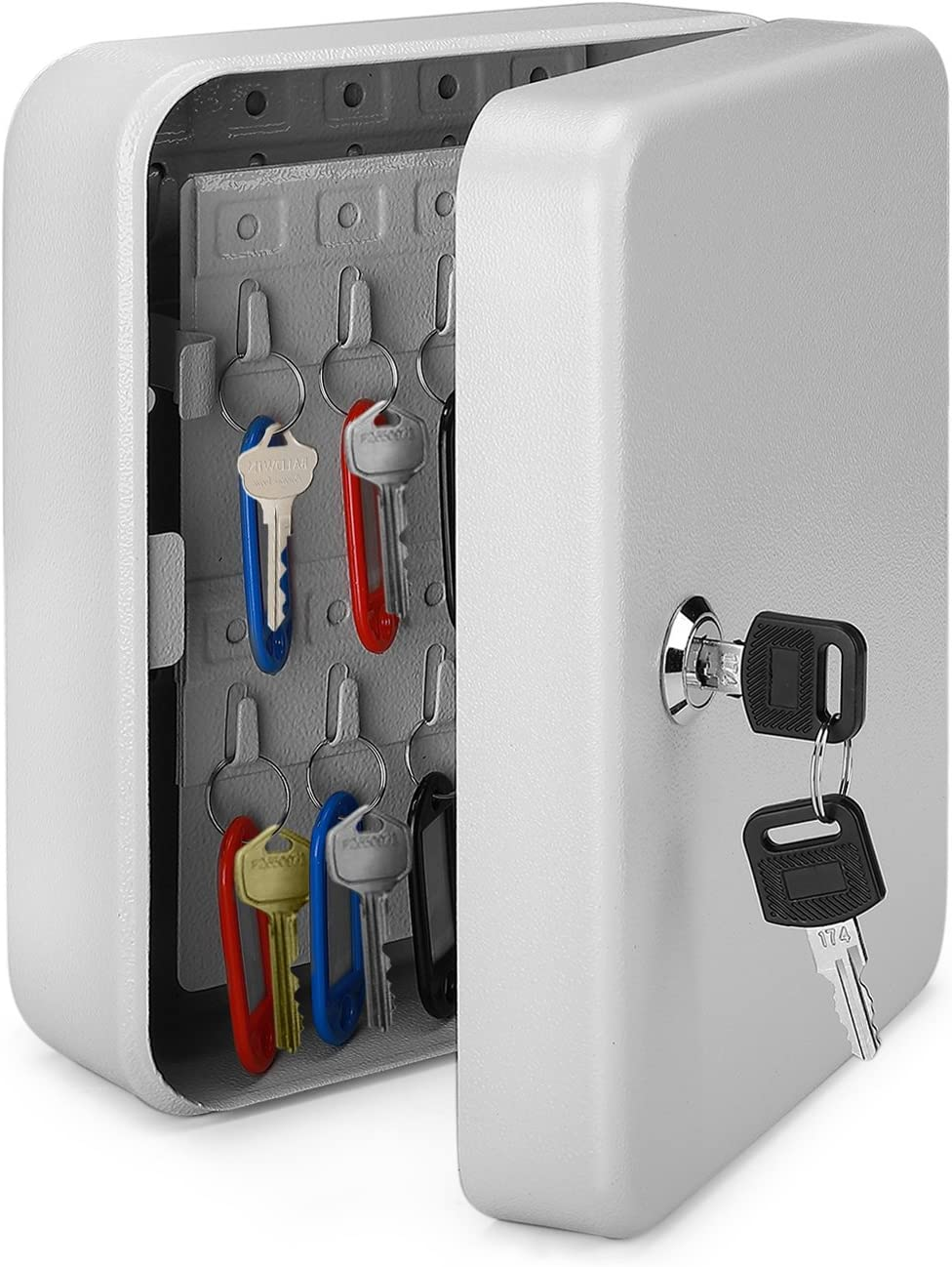 Flexzion Key Cabinet Steel Lock Box with 40 Capacity Colored Key Tags & Hooks - Wall Mounted Safe Organizer, Security Storage Lock Box System for Homes, Hotels, Schools or Business (Gray)