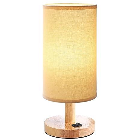 Noche Lámpara de mesa redondo pequeño de madera vintage ...
