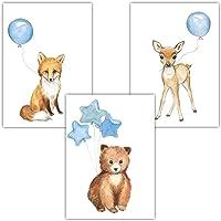 Frechdax® 3er Set Kinderzimmer Poster Baby Bilder DIN A4   Waldtiere Safari Afrika Tiere Tierposter Luftballon Ballon Farbwahl