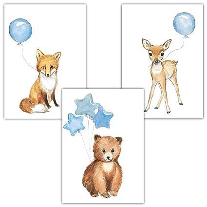 Frechdax® 3er Set Kinderzimmer Poster Baby Bilder DIN A4 | Waldtiere Safari  Afrika Tiere Tierposter Luftballon Ballon Farbwahl (3er Set Blau, Bär, ...