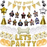 GIEMSON Dog Birthday Party Supplies Dog Paw Print Balloons Foil Balloons Lets Pawty Letters DIY Balloon Kit for Party…