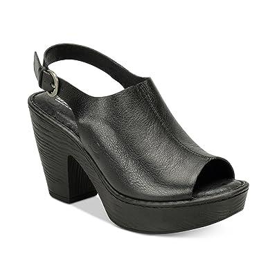 B.O.C Womens Fatema Leather Open Toe Slingback Mules, Black, Size 8.0