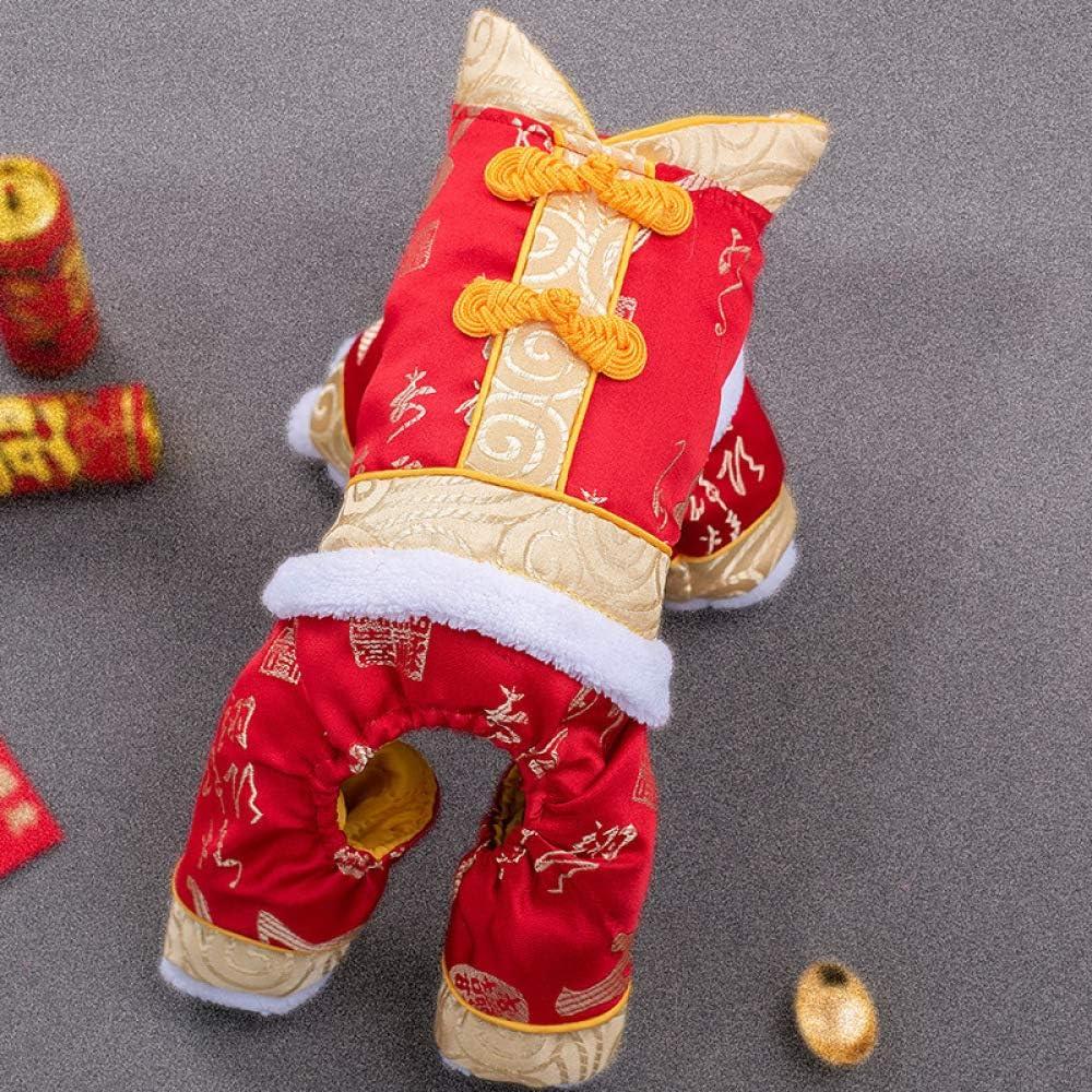 HCBDQQ Ropa para Perros Ropa De AñO Nuevo para Perros Ropa De AñO Nuevo Lunar para Perros Ropa De Abrigo De Invierno para Perros Disfraz De Perro