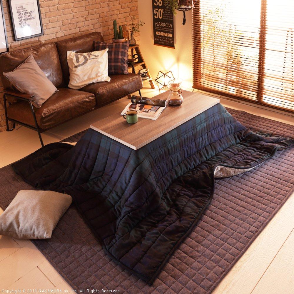 こたつ テーブル アンティーク風こたつテーブル カフェスタイル 100x50cm&保温綿入りこたつ布団 2点セット (こたつ布団:グリーン(チェック柄))  こたつ布団:グリーン(チェック柄) B01M6ZDDKR