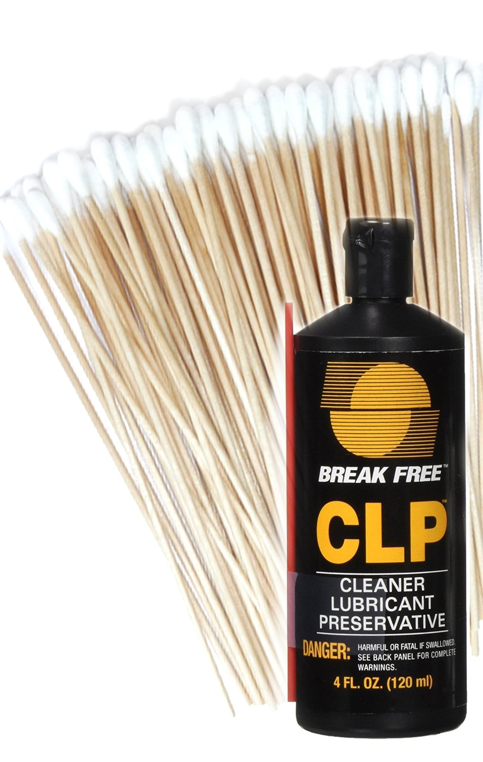 Break-Free CLP-4 Cleaner Lubricant Preservative Squeeze Bottle (4 -Fluid Ounce) and Cotton Swabs (Оnе Расk) by BreakFree and Hit Delights