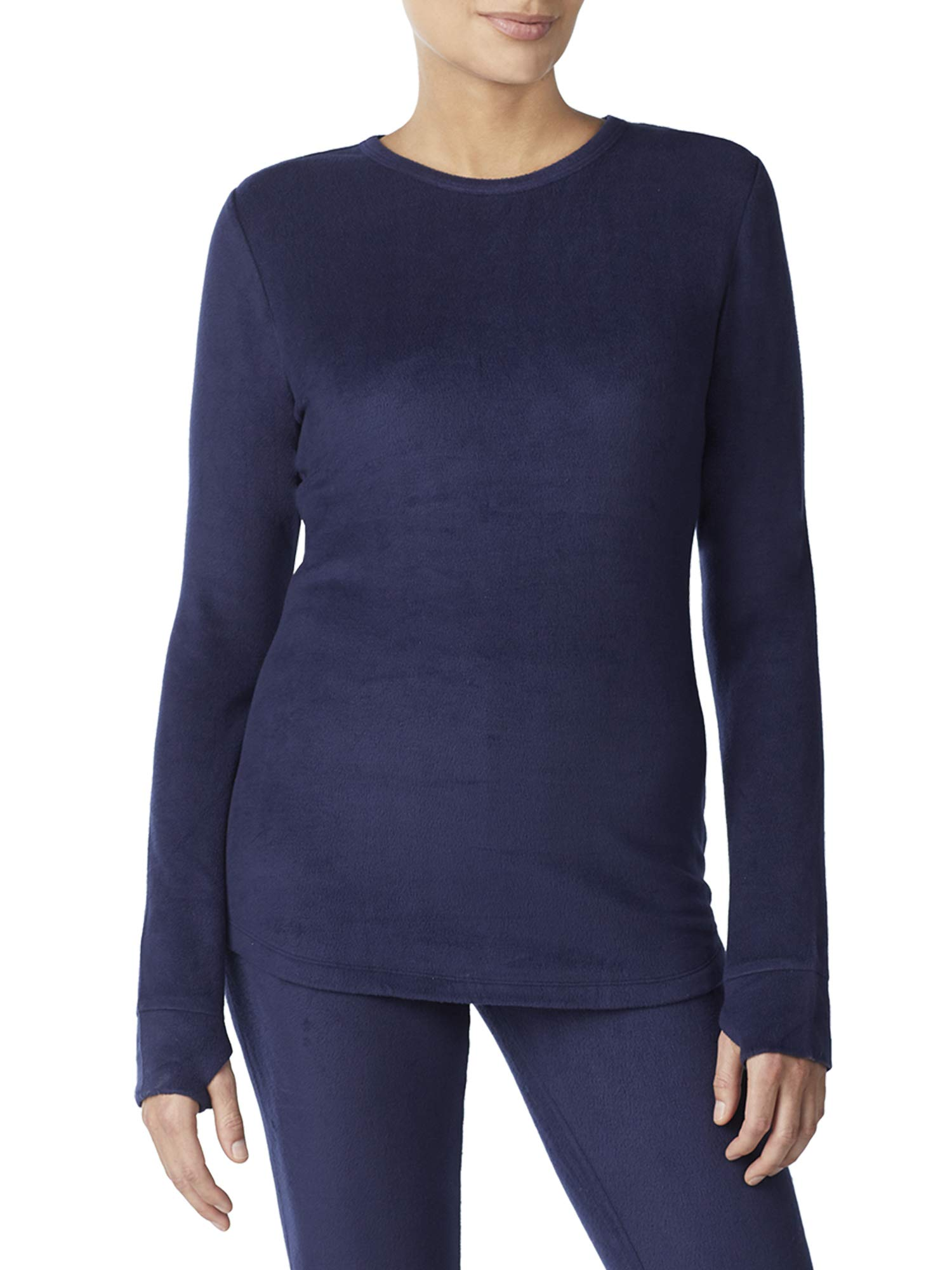 Cuddl Duds ClimateRight Womens Stretch Fleece Warm Underwear Long Sleeves Top (S - Navy) by Cuddl Duds