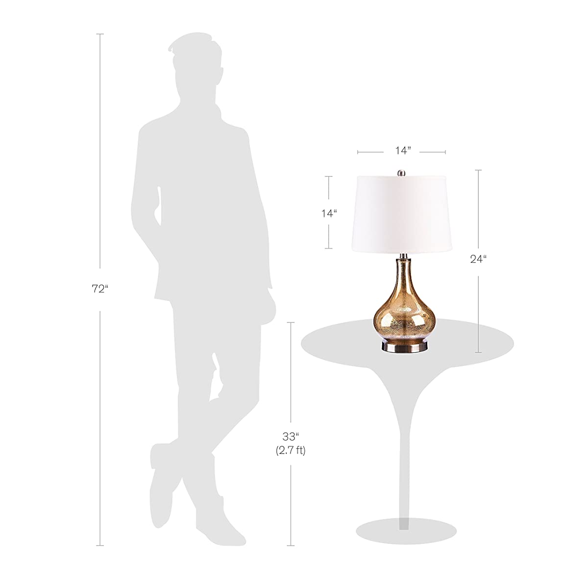 Catalina Lighting 19560-005 3-Way Mercury Glass Gourd Table Lamp with Beige Linen Drum Shade, with Bulb, Gold