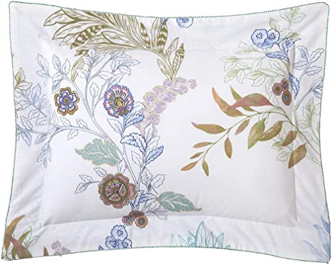 BOUDOIR BY YVES DELORME,COTTON PERCALE FITTED SHEET WITH MICRO NAVY FLORAL PRINT