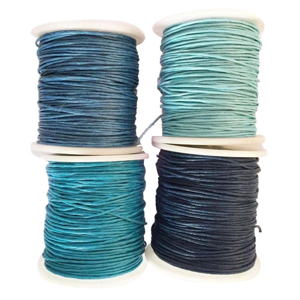 MonkeyJack 4 Rolls 80 Meters 1mm Waxed Cotton Cords Thread for DIY Bracelet Jewelry Making Blue 4336807365