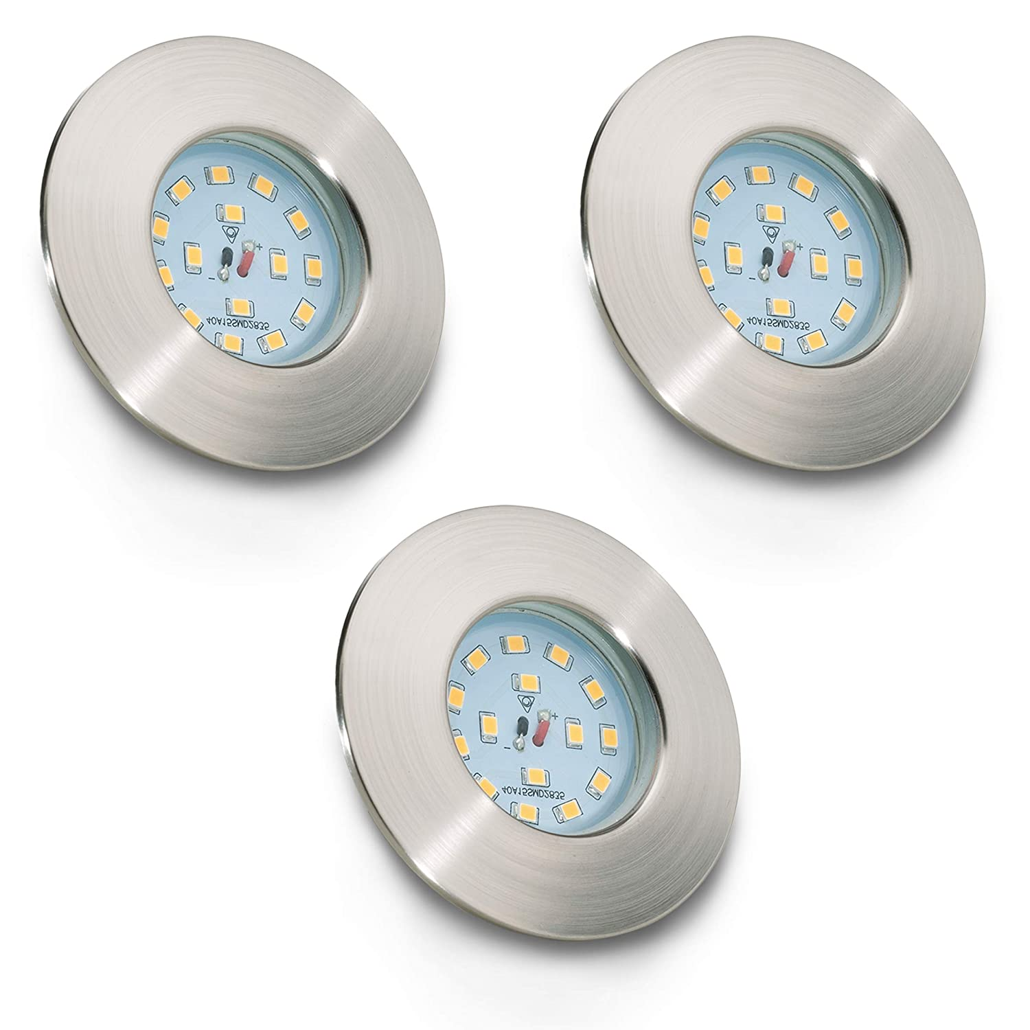 Faretti LED ad incasso I set da 3 I plafoniere ultrasottili da soffitto e per l'illuminazione da interno I resistenti all'acqua I luci rotonde, bianche I corpo metallo, color nickel opaco I luci LED integrate 5 W I 230 V I IP44 [Classe di efficienza energe