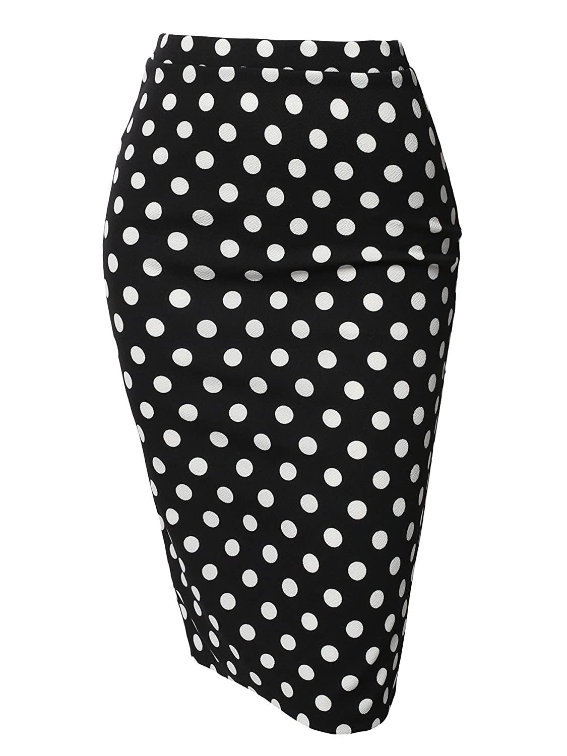 Aawskm0001 Black White Polka Awesome21 Women's Fitted Stretch Solid Print High Waist Midi Pencil Skirt  Made in USA