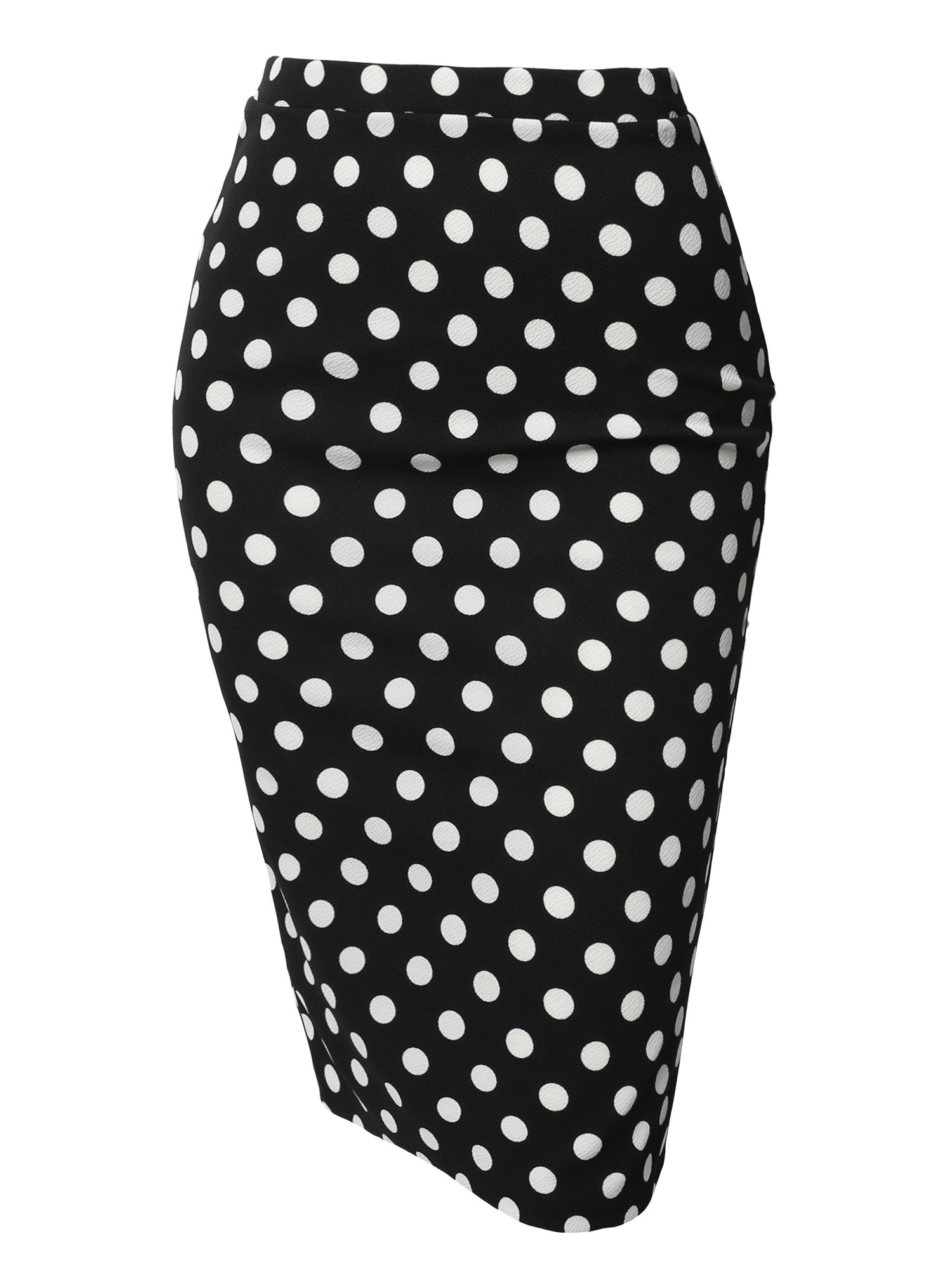 Awesome21 Fitted Stretch Printed High Waist Midi Pencil Skirt Black White Polka Size S