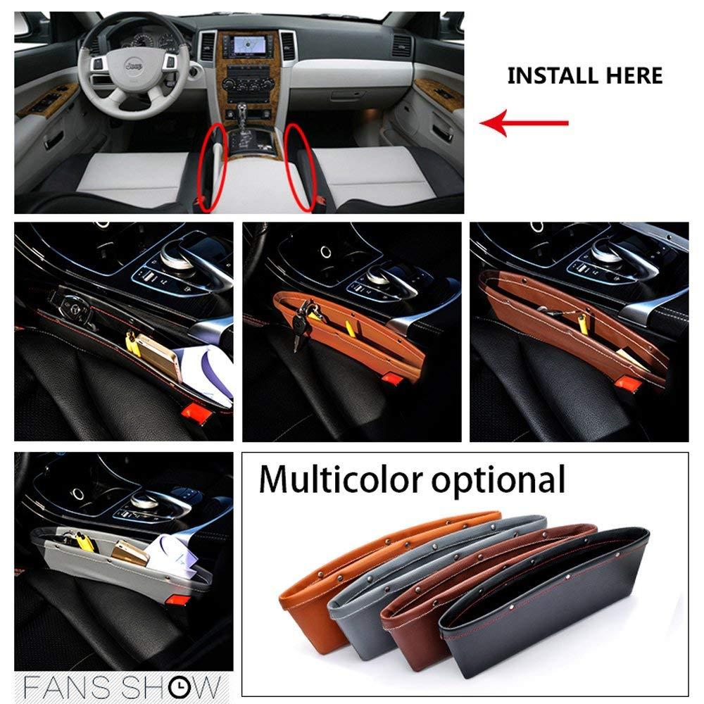 BLACK AK KYC 2 Pack Car Pocket Organizer Seat Side Caddy Console Car Catcher Gap Filler PU Leather 4 Color Interior Car Accessories,