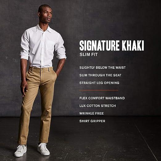 4f197ba6500 Dockers Men s Slim Fit Signature Khaki Lux Cotton Stretch Pants D1 at  Amazon Men s Clothing store