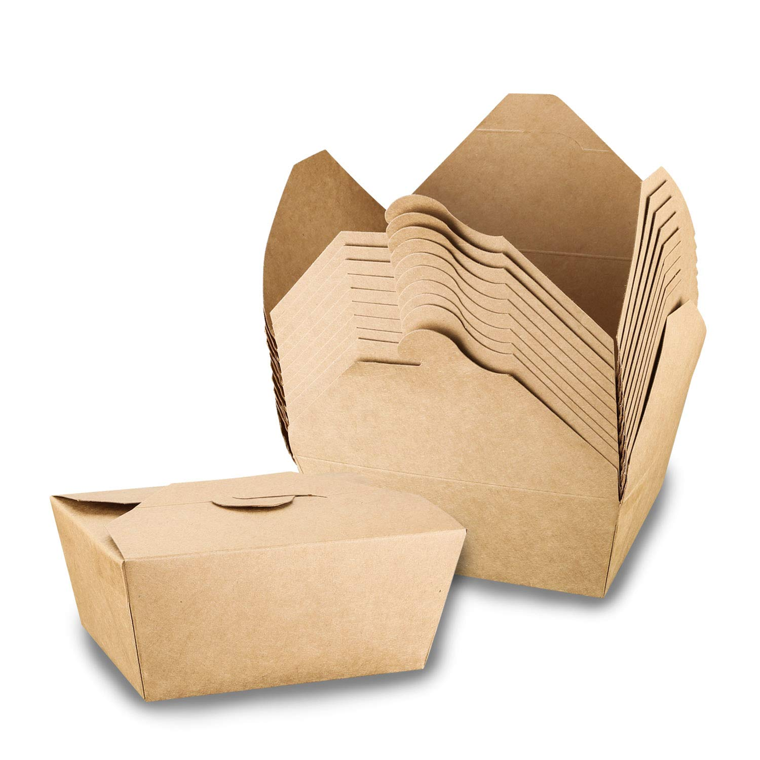 [40 Pack] Take Out Boxes, 47 oz Microwaveable Kraft Brown to Go Boxes - Leak and Grease Resistant Food Containers, Recyclable Lunch Box for Restaurant, Catering and Parties