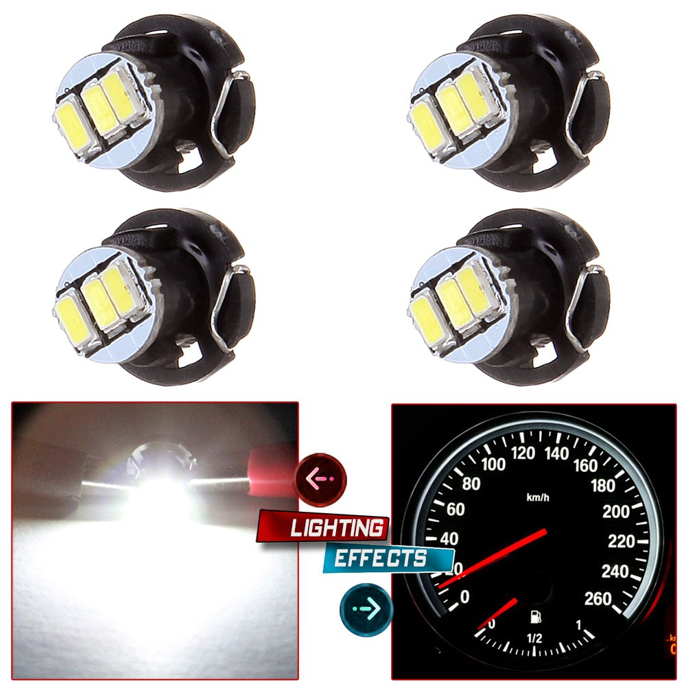 cciyu 4 Pack White 3-3014SMD T4//T4.2 Neo Wedge LED A//C Climate Control Light Bulbs