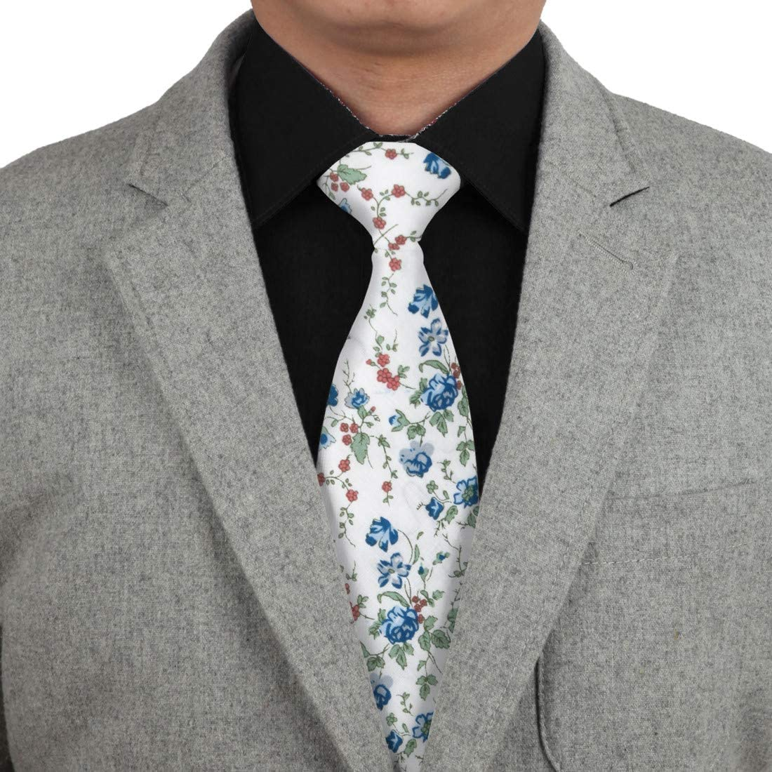 Dan Smith C.C.N.B.026 White Green Pink Red Casual Mens Floral Cotton Neck Tie Hanky