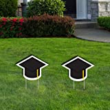 VictoryStore Yard Sign Outdoor Lawn Decorations: Graduation Decorations, Graduation Cap Lawn Signs, Set of 2 with Stakes