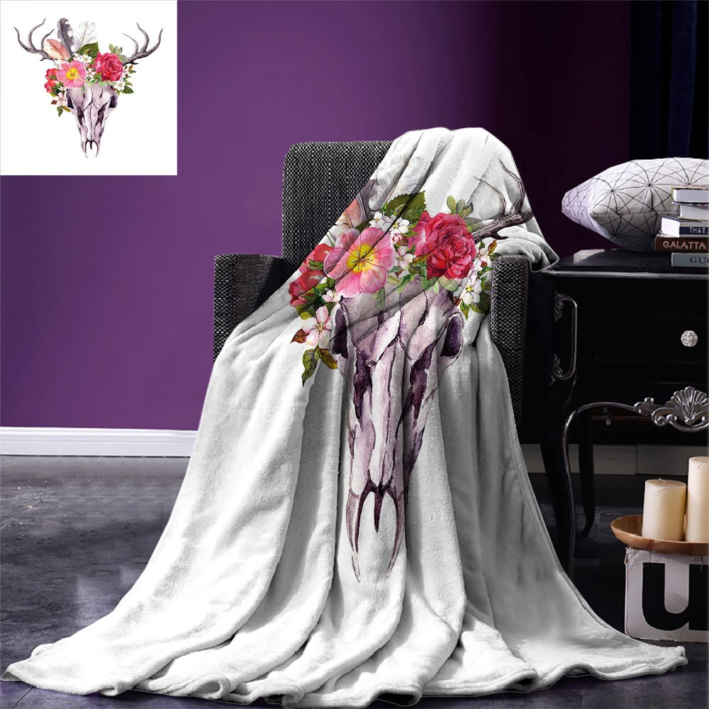 smallbeefly Antler Decor Throw Blanket Deer Animal Skull with Flowers and Feathers Vintage Style Watercolor Artwork Warm Microfiber All Season Blanket for Bed or Couch Multicolor