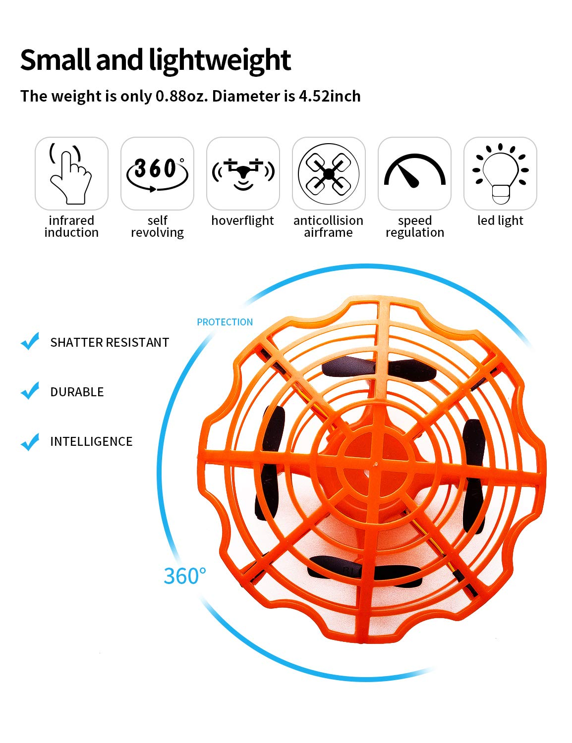 Refasy Flying Toys for Kids, UFO Toy for Boys 3 4 5 6 7 8 9 10 11 12 Year Old Drones for Kids Mini Drones Hand Controlled Flying Ball Drone Toys LED Light for Kids, Boys and Girls Toys Orange by Refasy (Image #2)