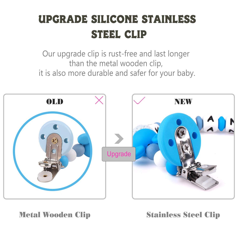 Bebé Chupetero Mordedor Personalizado con Nombre Silicona Soothie chupete Holder & Binky Clips, mejores regalos de Baby Shower (blue)