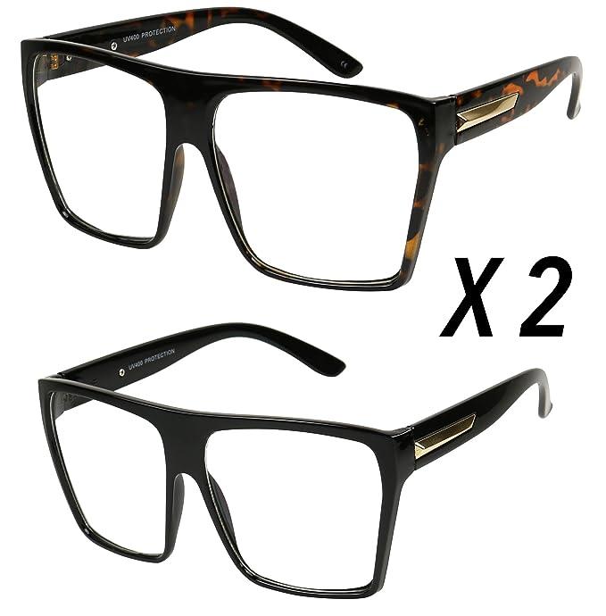 4a6b1a88df Amazon.com  Basik Eyewear - Super Oversized Trapezoid Flat Top Clear Lens  Sun Glasses XL Frames (2-Pack (1 Black   1 Tortoise)