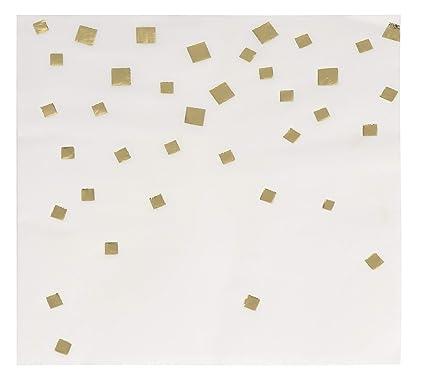 6c9773d1ec4a5 Cocktail Napkins - 50-Pack Gold Foil Confetti Squares Disposable Paper  Napkins, 3-