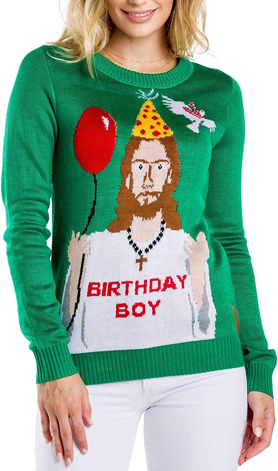 Tipsy Elves Women\'s Ugly Christmas Sweater - Happy Birthday Jesus Sweater  Green