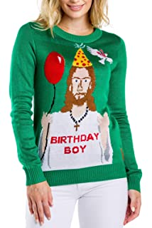 f3ea5f2f575 Tipsy Elves Women s Ugly Christmas Sweater - Happy Birthday Jesus Sweater  Green