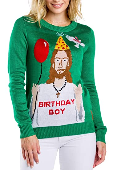 Tipsy Elves Womens Ugly Christmas Sweater Happy Birthday Jesus