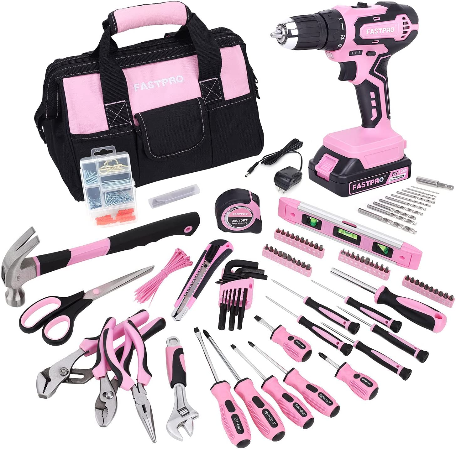 TOPLINE 208-Piece Ladies Pink Tool Set with Easy Carrying Round Pouch, Home Tool Kit for Women