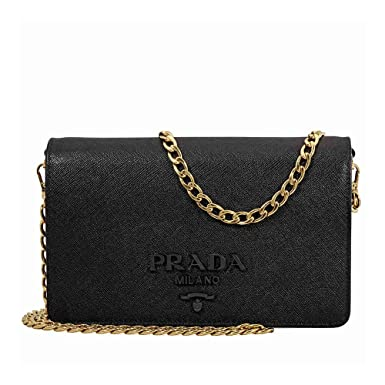28c332eb4262 ... clearance prada womens saffiano leather wallet bag black 1abdc 9ee3c