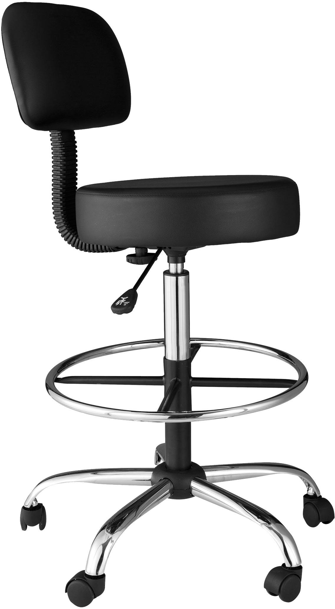 OneSpace Medical/Drafting Stool with Back Cushion, Black