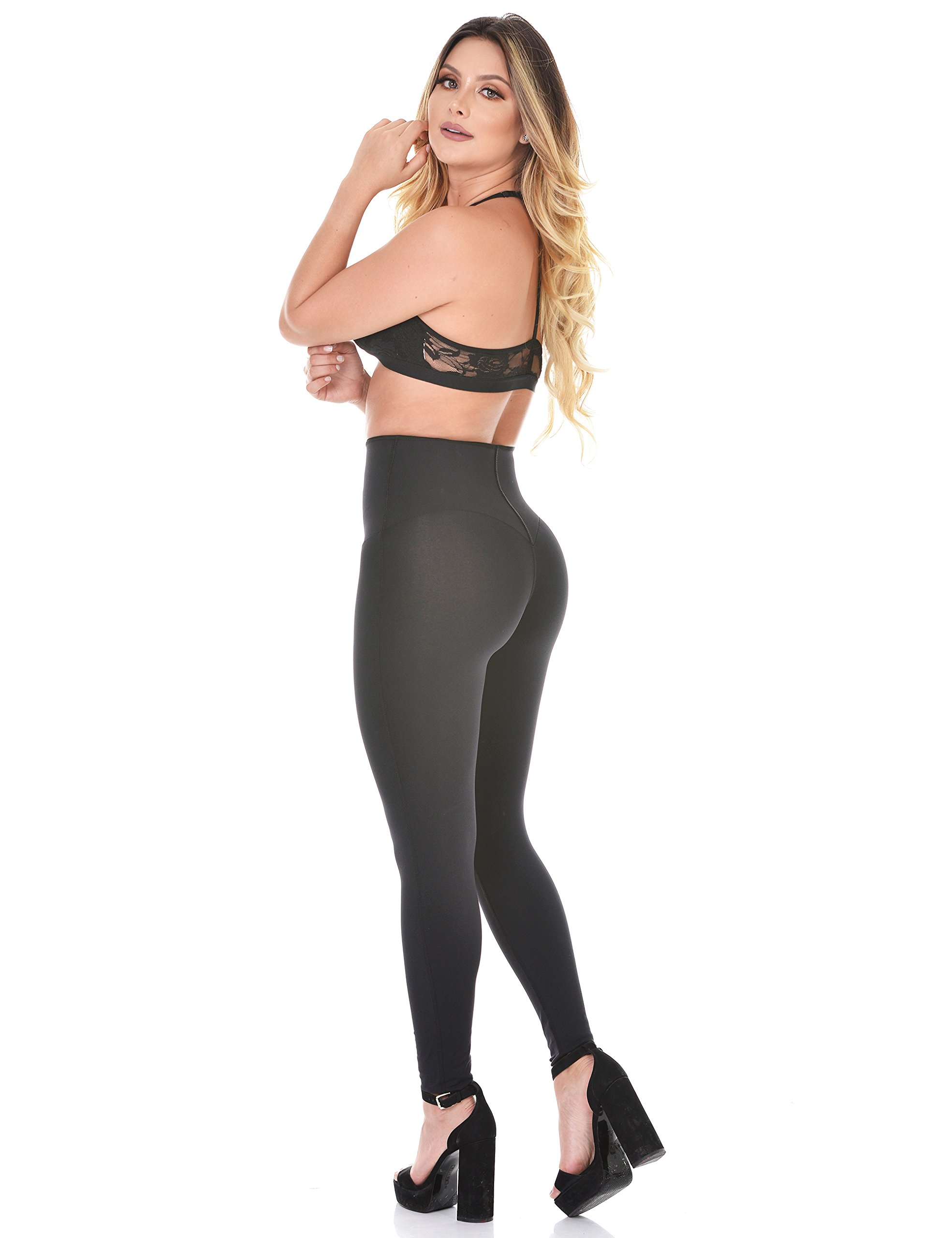 Curvify Elegant High Waisted Womens Black Leggings With a Secret Latex Waist Band For an Hourglass Figure (Medium, Black, L112)